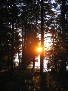 Sunrise behind cabin
